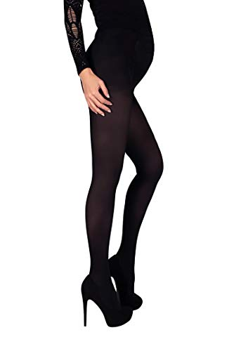 Mama Maternity Pantyhose Tights Opaque 60 den Pregnancy Hosiery (L, Black)
