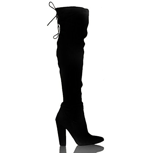 High Long The Knee Shoesdays Over Boots Sexy Celebrity Suede Black Suede Thigh Heel Stretch Shoes Ladies Block 70YqEg