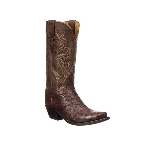 Lucchese Women's Augusta M5601 Full Quill Ostrich Exotic Boots (Redwood) 9/B