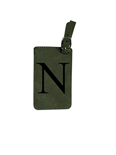Luggage Tag Initial-Engineered Leather with Individual Letters-Personalized Luggage Tags for Travel (N)