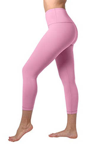 """90 Degree By Reflex High Waist Squat Proof Capris - 22"""" Interlink Workout Capris - French Pink - Small"""