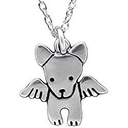 "Sterling Silver Angel Dog Necklace on 18"" Sterling Chain"