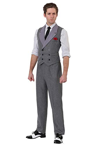 Adult 1920 Mafia Don Costume Men's Ruthless Gangster Costume Large Gray -