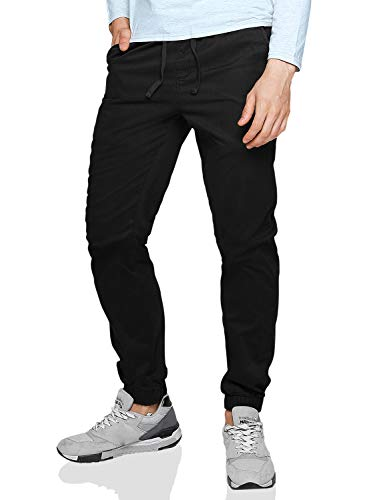 Match Men's Loose Fit Chino Washed Jogger Pant (34, 6535 Black)