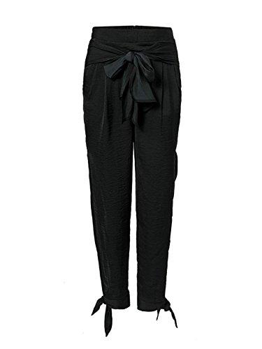 Pantalone Donna Estivi Elegante Moda Casual Pantaloni Spiaggia Giovane Grazioso Stampato High Waist Cintura Inclusa Spacco Bendare Tempo Libero Pantaloni Women Nero