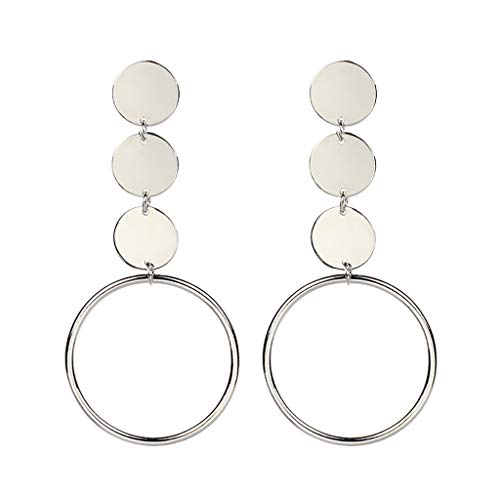 Classic Circle Earrings 3 Tiered Round Disc Drop Earring Stud Earrings for Women (Silver)