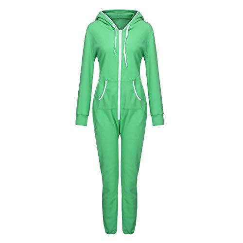 Colouredays Jumpsuit Pants for Women Velvet Plus Size Night Onesies Tops Sleepwear Solid Zipper Plush Padded Green
