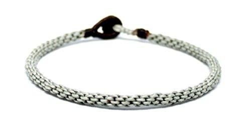 Origin Siam Handmade Thai Buddhist Wristband | Unisex Tight Weave Slim Bracelet | Karma Luck Love Friendship | Yoga Meditation Gift (Silver Gray)