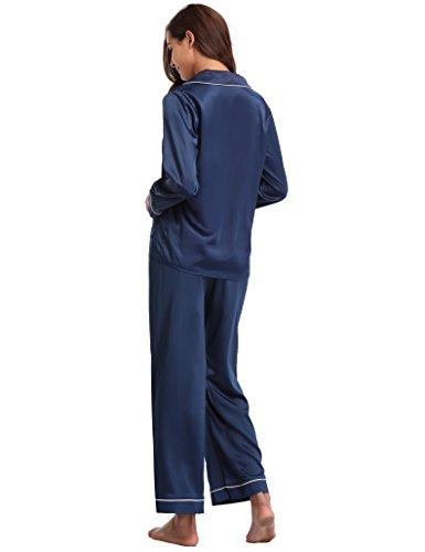 Saisons Toutes Les Aibrou M Longue Ensemble Bleu Pyjama Manche Nuit Satin En Pour Noir Vêtements Femmes De 7O7wA