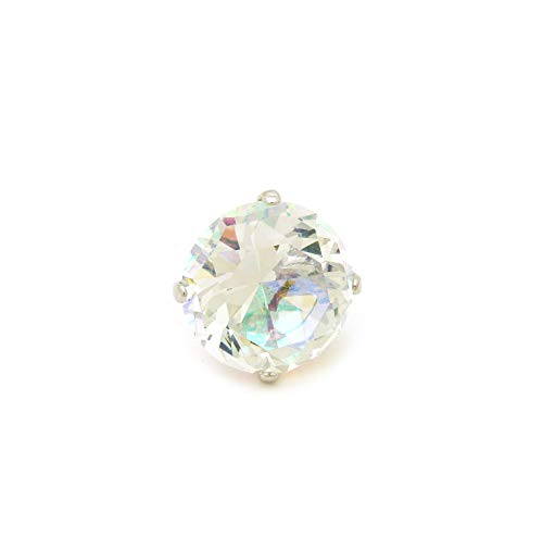 (Fashion 21 Women's Extra Big Crystal Colorful Stone Stretch Ring (Silver AB))