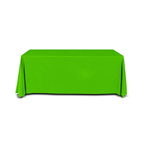 Custom Front 6' - 8' Foot Convertible Table Throw, Customizable Front Polyester Flex Cover (Green)