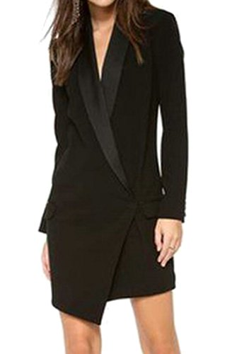 Cheap LD Womens Asymmetric Buttons Outwear Lapel Long Sleeve Blazer Suit Jacket
