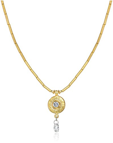 GURHAN ''Droplet'' White Diamond High Karat Gold Tube Pendant Necklace, 16'' by Gurhan