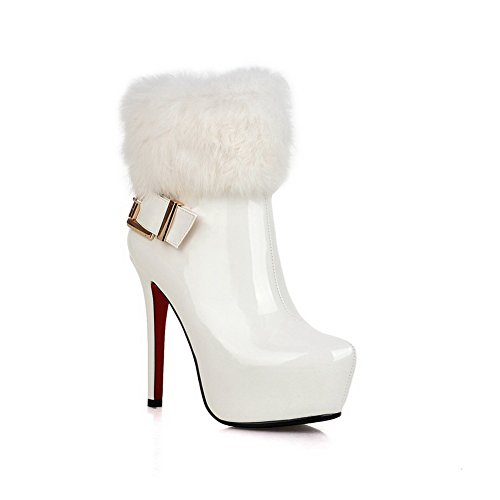 BalaMasa Womens Fur Collar Platform Buckle Imitated Leather Boots White zX9D6GeW