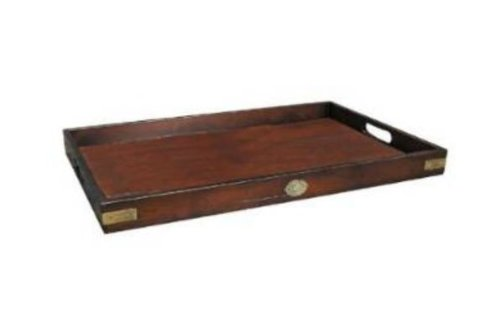 Butler Tray (Serving Tray Large From Authentic Models - Butler's Wooden Tray, Solid Wood in French Finish with Brass Hardware Accents - FF102)