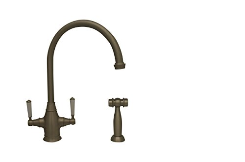 Whitehaus WHQNP-34650-BN Queenhaus Dual Handle Faucet with A Long Gooseneck Spout, Porcelain Lever Handles and Solid Brass Side Spray