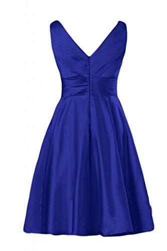Blu Gowns maniche Sunvary reale Homecoming scollo con raso e a V Bridesmaid corte Cocktail da in p0q6O