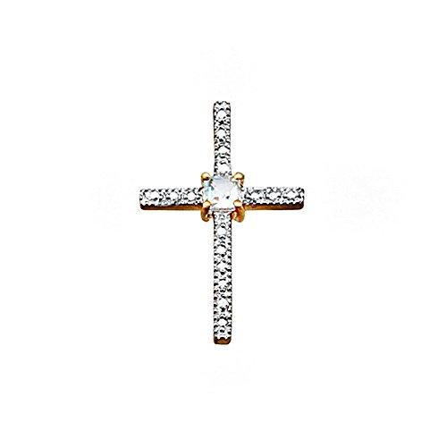 Croix pendentif centre aquamarine pierre bicolor or 18k [AA4958]