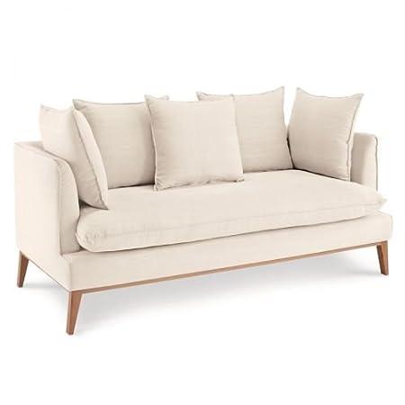 Kasandria Sofa Puro Weiss 3 Sitzer Helle Couch Mit Holzgestell