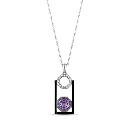 AYOS Inc Natural Pink Gemstone Pink Amethyst (5.03 cttw) Hand Carved Healing Crystals Birthstone Gemstone Pendant Necklace Pendants for Women 925 Sterling Silver Gemstone Jewelry Gifts for Women ()