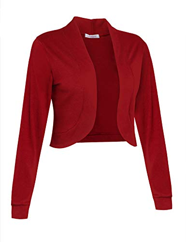 Sufiya Womens Long Sleeve Short Cardigan Slim Fitted Cropped Open Front Bolero Shrug Red