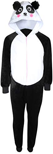 Onesies For Teenage Girls (Sleep On It Girl\'s Micro Fleece Onesie Pajamas with Character Hood (Black Panda,)