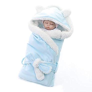 BovoYa Neugeborenes Baby Wärmer Schlafsack Baby Decke Warme Kapuzenschlafsack Winter Baby Kapuzenmantel für Baby Mädchen 80 * 80 cm