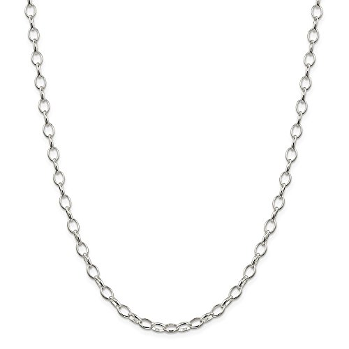(Solid 925 Sterling Silver 5mm Rolo Chain Necklace - with Secure Lobster Lock Clasp 16