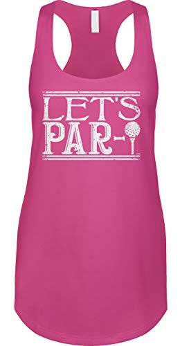(Blittzen Womens Tank Let's Par-Tee - Funny Golf Pun Humor, XL, Pink)