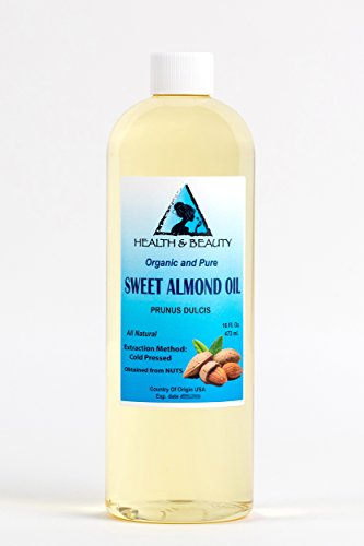 Sweet Almond Oil Organic by H&B OILS CENTER Cold Pressed Premium Quality Natural 100% Pure 16 oz Review