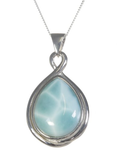 Classical 925 Sterling Silver Women Pendant + Chain with Larimar - 37mm*20mm, 10 Grams