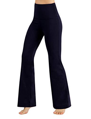 ODODOS Power Flex High Waist Boot-Cut Yoga Pants Tummy Control Workout Non See-Through Bootleg Yoga Pants,Navy,Medium - Made Body