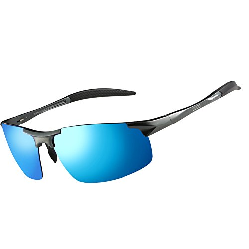 Duco Men's Sports Style Polarized Sunglasses Driver Glasses 8177S (Gunmetal Frame,Revo (Gunmetal Polarized Shades)