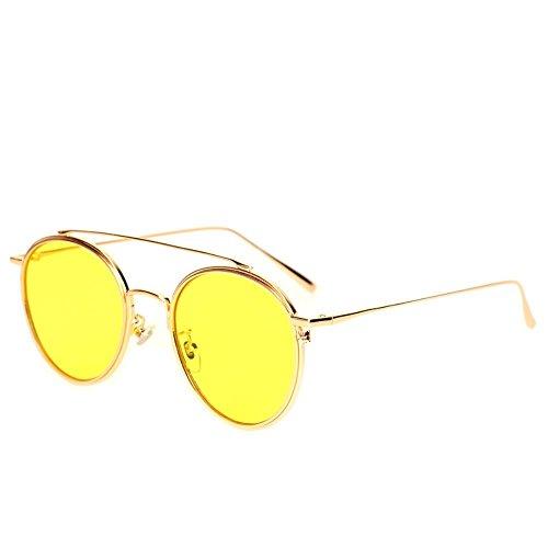 Lunettes de rondes soleil haute et femelles générales perspective en de soleil Shop Cadre Jaune Film Lunettes soleil Jaune 6 mâles lunettes de métal nxg6wqCF