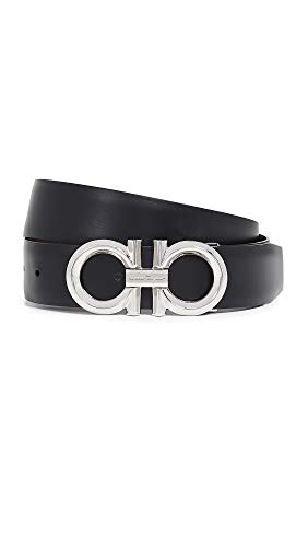 (Salvatore Ferragamo Men's Beveled Gancini Buckle Reversible Belt, Nero/Hickory, Black, Brown, 34)