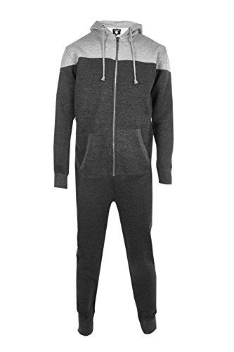 Boohoo Mens Contrast Hooded Onesie in Grey size Xl