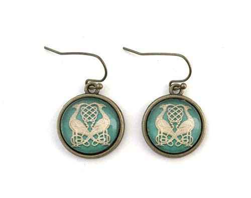 Celtic Bird Earrings - Green and Gold Celtic Knot - Antique Brass - Handmade