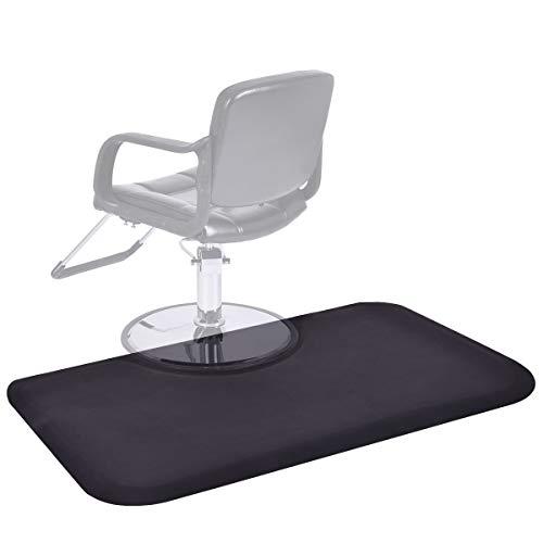Giantex 3 x 5 ft Salon Floor Mat Barber Shop Chair Floor Anti Fatigue Mat For Hair Styling Rectangle Comfort Beauty Salon Chair Floor Mats, Black