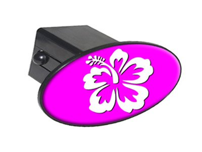 """Hibiscus Flower White On Pink Oval Tow Trailer Hitch Cover Plug Insert 2"""""""