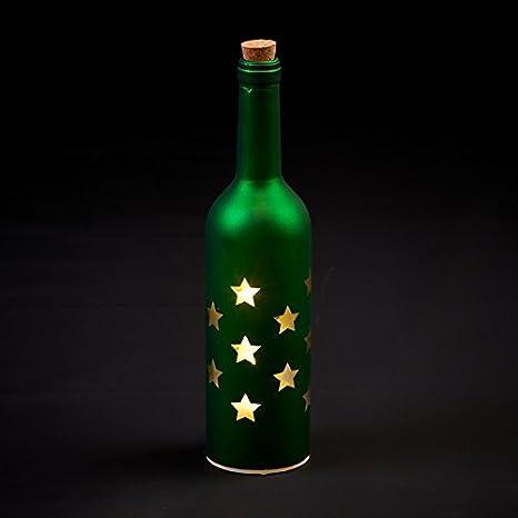 Botella verde de cristal, 30 cm, con luces LED en el interior, diseñ