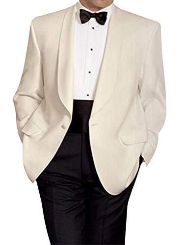 Jacket Ivory Blend Wool (YZHEN Men's One Button Formal 2 Piece Suits Slim Fit Wedding Tuxedo Ivory)