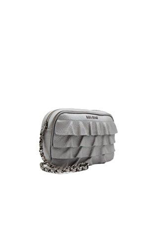 Mia Bag Borsa Tracolla Trapuntata con Rouches Colore Argento