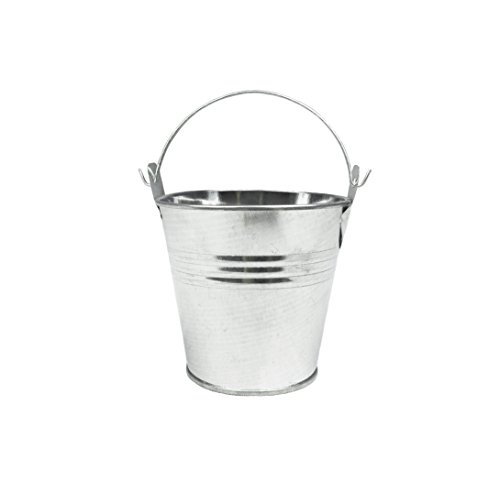 6pcs Metal Mini Bucket Candy Box Buckets with Handles Gift Pails for DIY Craft Floral Projects and Bridal Wedding Party Souvenirs Baby Showers (Silver) (Mini Favor Tins)