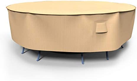 NeverWet Signature Round Patio Table and Chairs Combo Cover, Extra Large – Tan, P5A06TNNW2