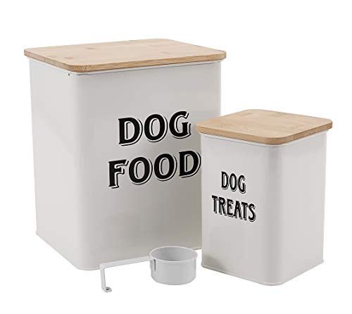 Pet Food and Treats Containers Set with Scoop for Cats or Dogs – Beige Powder -Tight Fitting Wood Lids – Coated Carbon Steel – Storage Canister Tins