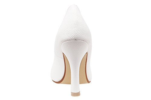 Andres Machado. AM591. Zapatos Salon en Soft y punta Fina. Mujer.Tallas Pequeñas de la 32 a la 35. Tallas Grandes de la 42 a la 45. GrabadoBlanco