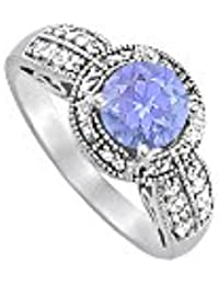 December Birthstone Tanzanite and CZ Ring 2.00 TGW
