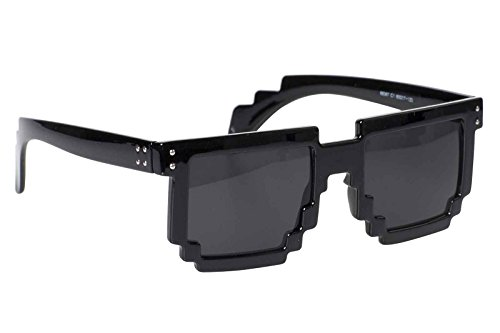 Pixel Sunglasses 8 Bit Geek Nerd Pixelated Glasses Fashion Accessory (Gloss - Sunglasses Bit Pixel 8