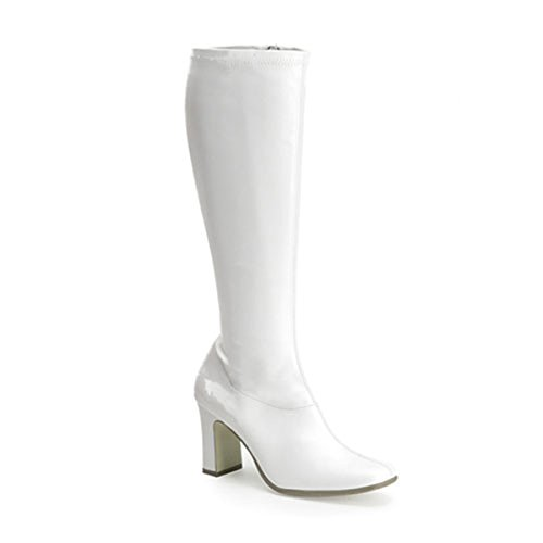 Womens Retro Boots 3 1/4 Inch Sexy White Stretch Go Go Boot