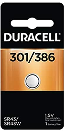 Duracell Watch and Electronic Battery 1.5 V Model No. 301/386 Carded